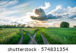 crossroads in the field at... | Shutterstock . vector #574831354