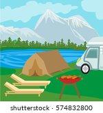 summer picnic on rural landscape   Shutterstock . vector #574832800