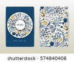 cover design with floral... | Shutterstock .eps vector #574840408