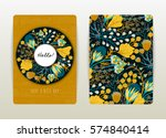 Cover design with floral pattern. Hand drawn creative flowers. Colorful artistic background with blossom. It can be used for invitation, card, cover book, catalog. Size A4. Vector illustration, eps10 | Shutterstock vector #574840414