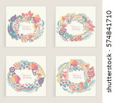four square cards. hand drawn... | Shutterstock .eps vector #574841710
