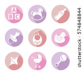set of nine icons on the theme... | Shutterstock .eps vector #574848844