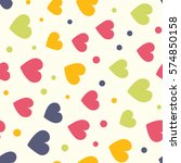 seamless hearts and dots...   Shutterstock .eps vector #574850158