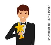 actor holding a star trophy... | Shutterstock .eps vector #574850464