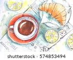 Breakfast. Tea And Croissants....