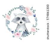 watercolor boho floral wreath...   Shutterstock . vector #574861300