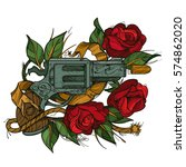 gun and rose colored... | Shutterstock .eps vector #574862020