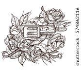 gun and rose contour... | Shutterstock .eps vector #574862116