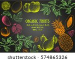Fruits Top View Frame. Farmers...