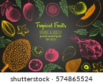 tropical fruits top view frame. ... | Shutterstock .eps vector #574865524