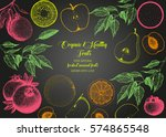 fruits top view frame. farmers... | Shutterstock .eps vector #574865548