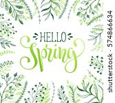 floral frame with hello spring... | Shutterstock . vector #574866634