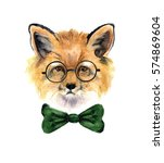 watercolor hipster fox.... | Shutterstock . vector #574869604