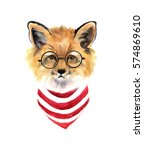 Watercolor Hipster Fox....