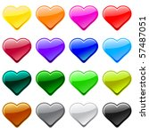 vector love heart button icons  ...