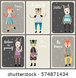 cards with cute fashion animals ... | Shutterstock .eps vector #574871434