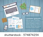 desktop with documents  forms ... | Shutterstock .eps vector #574874254
