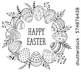 easter wreath with easter eggs... | Shutterstock . vector #574876438