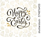 easter background with eggs... | Shutterstock . vector #574876453
