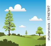 a country landscape with trees... | Shutterstock .eps vector #57487897