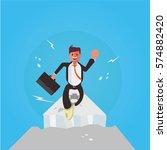 businessman jumping over over... | Shutterstock .eps vector #574882420