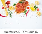 background with pasta  tomatoes ... | Shutterstock . vector #574883416
