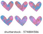 bundle of pink colorful hearts... | Shutterstock . vector #574884586