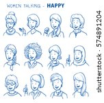 Set Of Various Happy Women In...