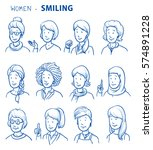 set of various happy women in... | Shutterstock .eps vector #574891228