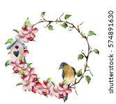 Watercolor Wreath With Tree...