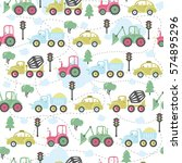 seamless pattern with cute cars.... | Shutterstock .eps vector #574895296