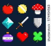 set of minimalistic pixel art... | Shutterstock .eps vector #574904563