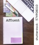 Small photo of Affluent: Winspiration Typed Words for Banking and Finance on a handbook with note book, marker pen and Malaysian Ringgit notes. Vertical view, Vintage and classic mood on the top of the wooden table.