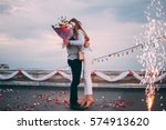 the man made a proposal to... | Shutterstock . vector #574913620