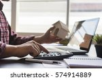 businessman bookkeeper or... | Shutterstock . vector #574914889