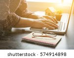 architect man working with... | Shutterstock . vector #574914898