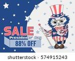 retro magician owl in uncle sam'... | Shutterstock .eps vector #574915243