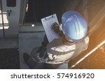 engineer or electrician working ... | Shutterstock . vector #574916920