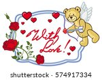 oval frame with red roses ... | Shutterstock . vector #574917334