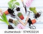 workspace  planting spring... | Shutterstock . vector #574923214