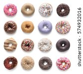 set of assorted donuts isolated ... | Shutterstock . vector #574932016