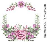 wreath with watercolor wild... | Shutterstock . vector #574934788