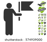 commander with flag pictograph... | Shutterstock .eps vector #574939000