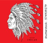 man in the native american... | Shutterstock .eps vector #574939279