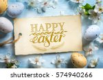 spring flowers and easter eggs. ... | Shutterstock . vector #574940266