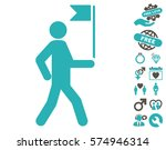 guide man with flag pictograph... | Shutterstock .eps vector #574946314
