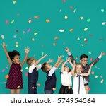 children smiling happiness... | Shutterstock . vector #574954564