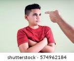 parent scolds his disobedient... | Shutterstock . vector #574962184