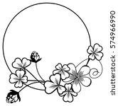 black and white round frame... | Shutterstock . vector #574966990
