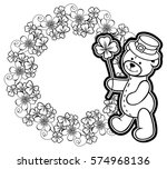 outline round frame with... | Shutterstock . vector #574968136